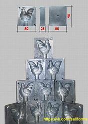 Форма для изготовления полых,  объемных леденцов