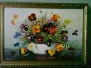 Картина Анютины глазки маслом на холсте